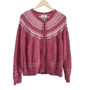 Tiara Cottage Core  Zip Up Knit Sweater Burgundy